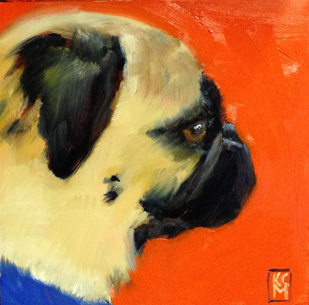 """Birthday Pug, 6x6 Oil Painting by Kelley MacDonald"" original fine art by Kelley MacDonald"