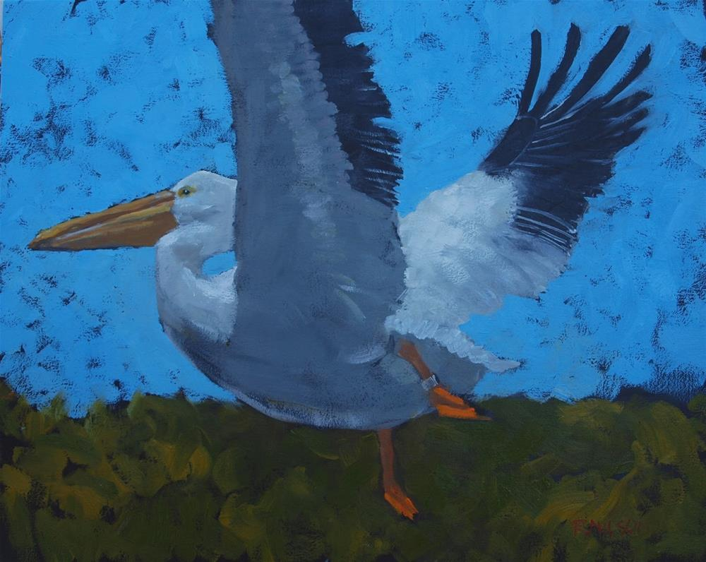 """White Pelican"" original fine art by Rick Nilson"