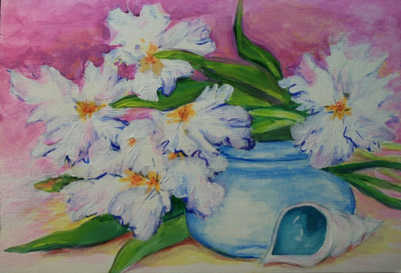 """Irises, Shell and Blue Bowl"" original fine art by Jean Nelson"