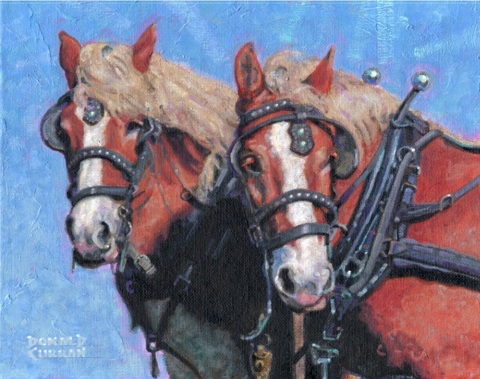"""A Good Team"" original fine art by Donald Curran"