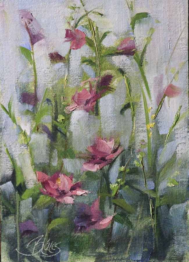 """Rose of Sharon Plein Air Garden Study"" original fine art by Pamela Blaies"