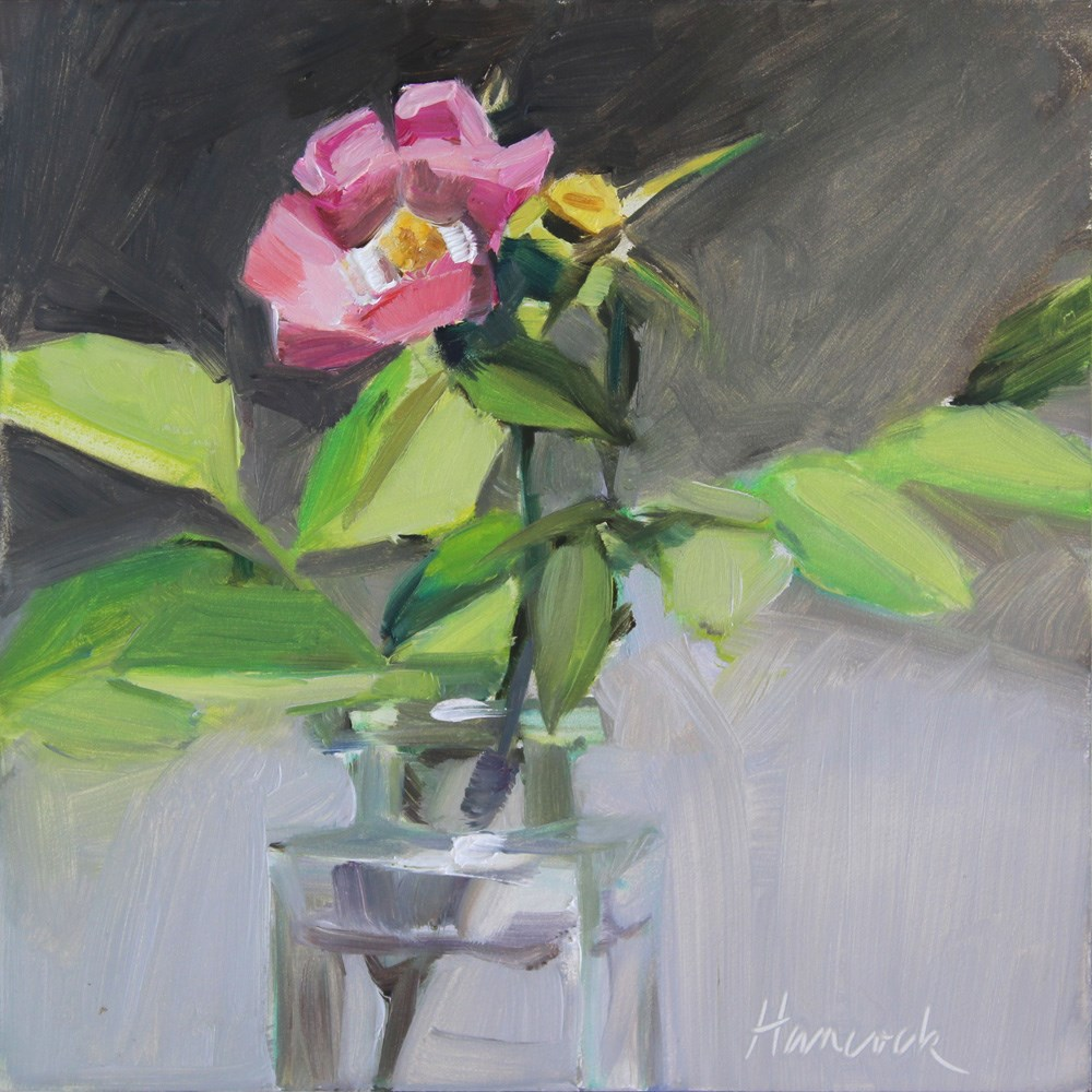 """Bright Pink Rose"" original fine art by Gretchen Hancock"