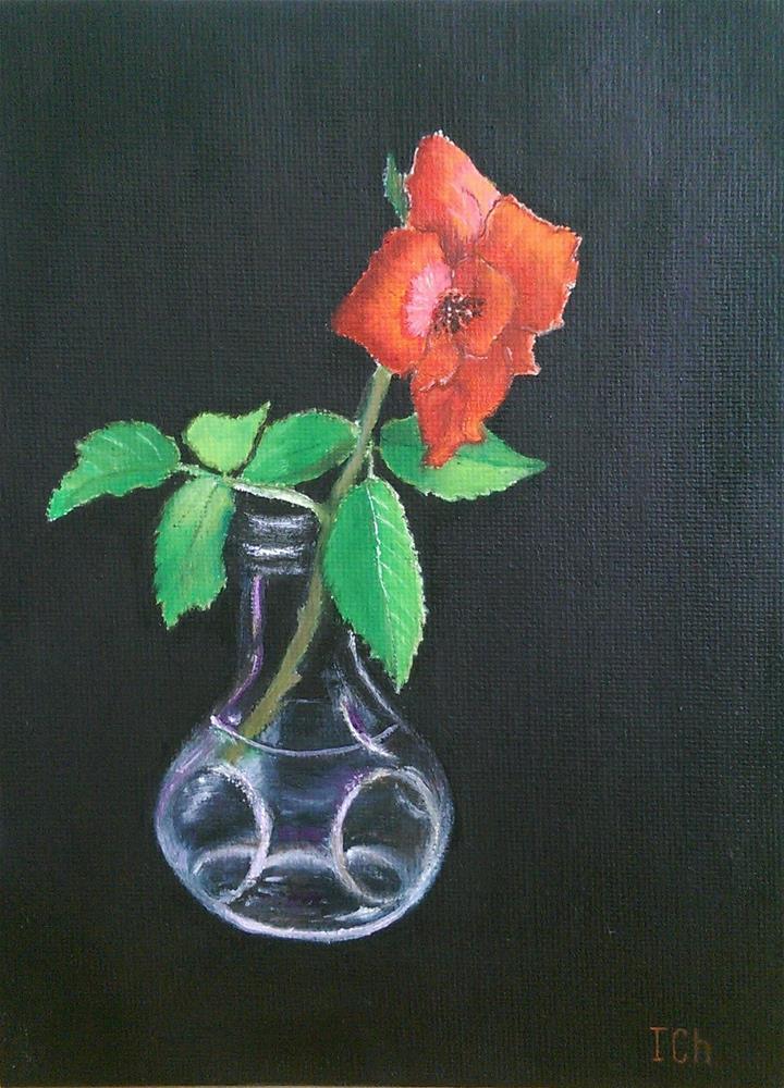 """""""Rosa, small vase"""" original fine art by Irina Chekhovtsova"""