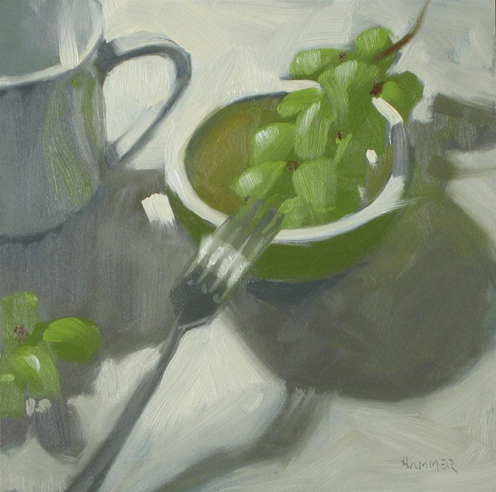 """Green grapes 6x6 oil"" original fine art by Claudia Hammer"