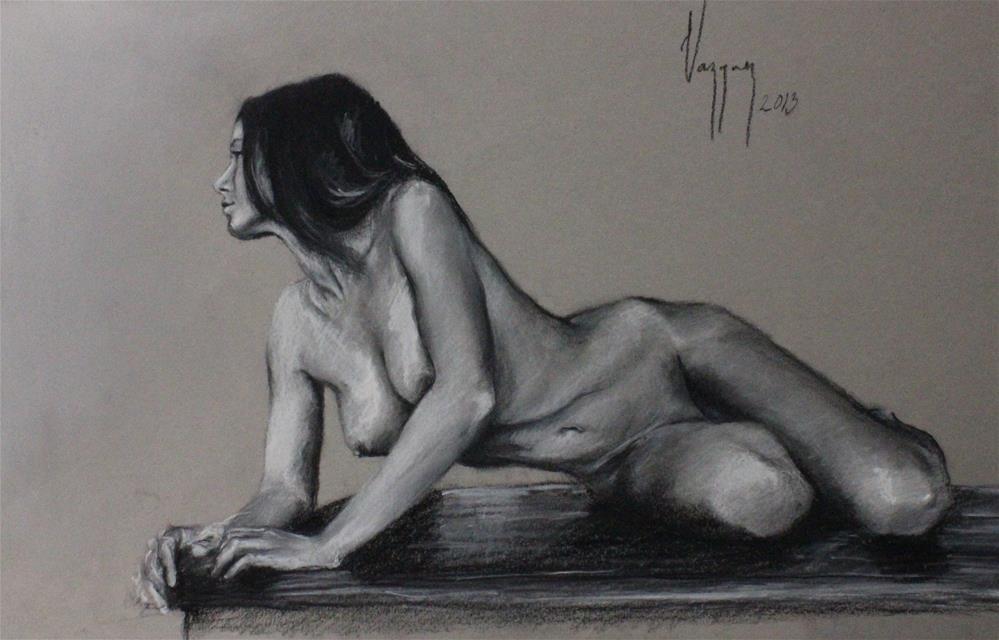 """Reclined nude"" original fine art by Marco Vazquez"