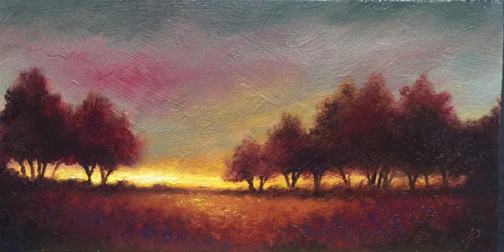 """""""Long Autumn Sunset"""" original fine art by Jane Palmer"""