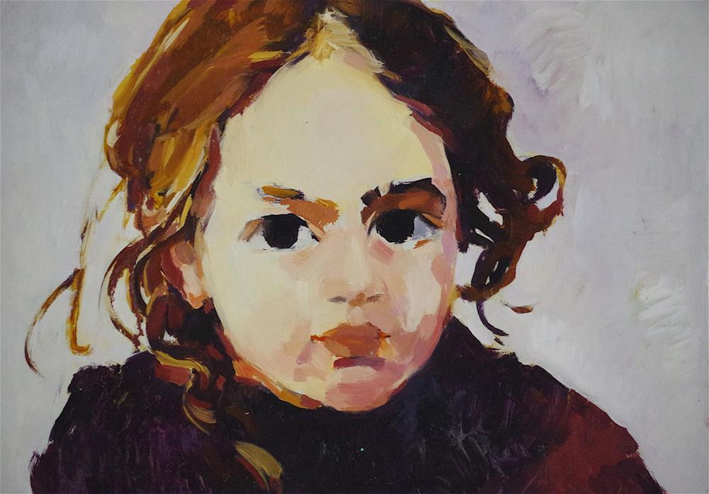"""Childhood, Portrait oil Painting, Handmade art, signed"" original fine art by V Y"