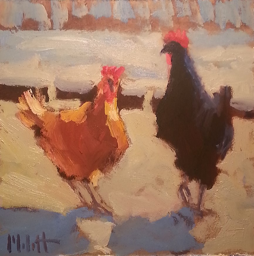 """Showdown Rooster Painting Contemporary Impressionism Oil"" original fine art by Heidi Malott"
