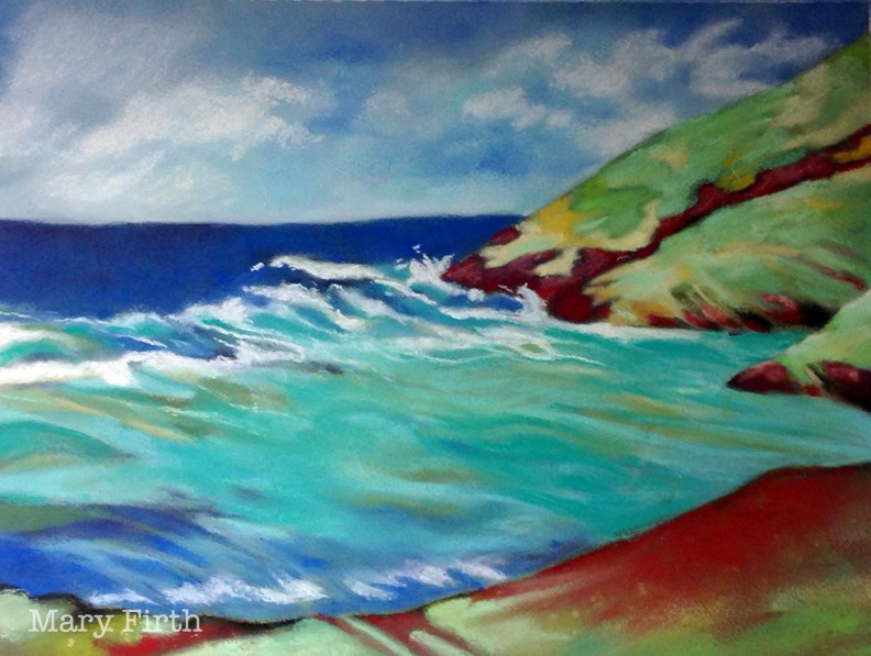 """st croix waves"" original fine art by Mary Firth"