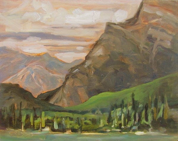 """Greens by Mt Rundle"" original fine art by Marcela Strasdas"