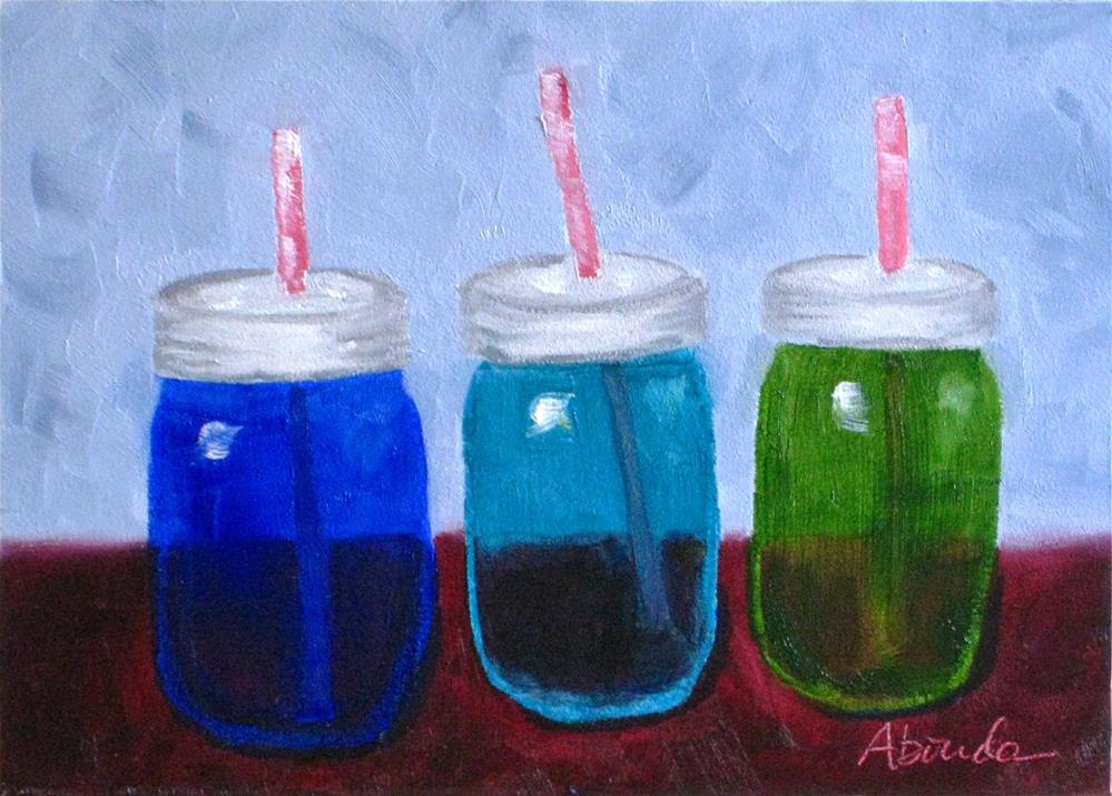 """Jars with Straws"" original fine art by Sandy Abouda"
