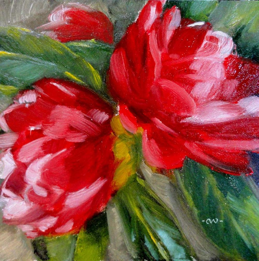 """Red & White Camellias"" original fine art by Cietha Wilson"