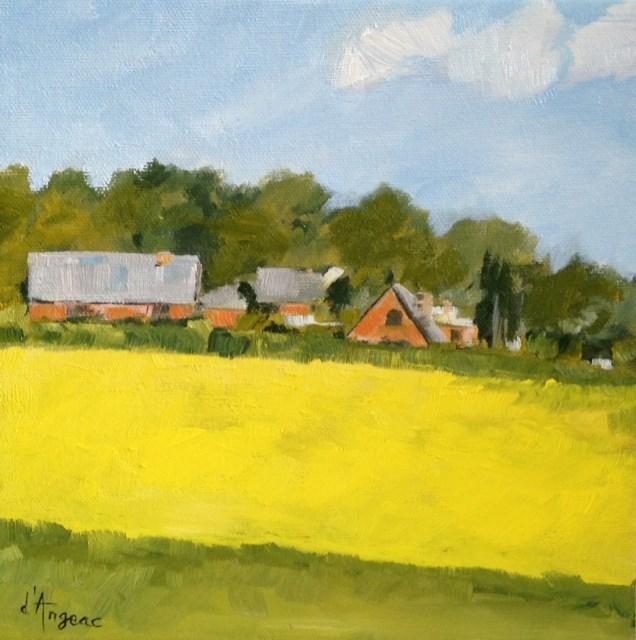 """""""Yellow Field II"""" original fine art by Karen D'angeac Mihm"""