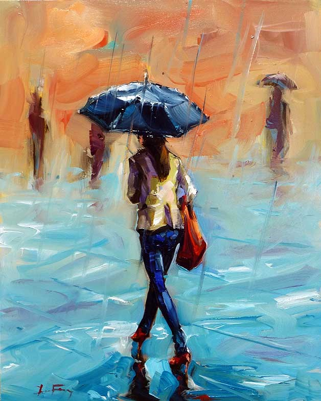 """Rain"" original fine art by Jurij Frey"