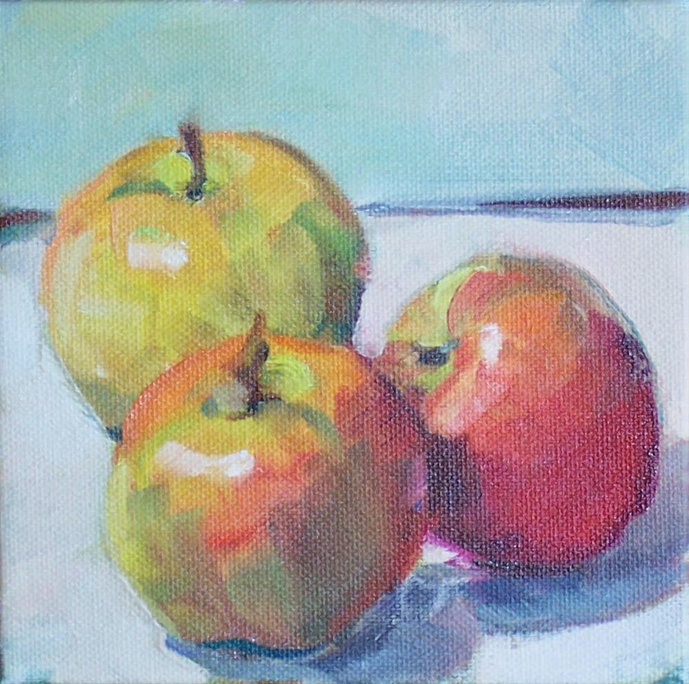 """3 Apples,still life,oil on canvas,6x6,price$300"" original fine art by Joy Olney"
