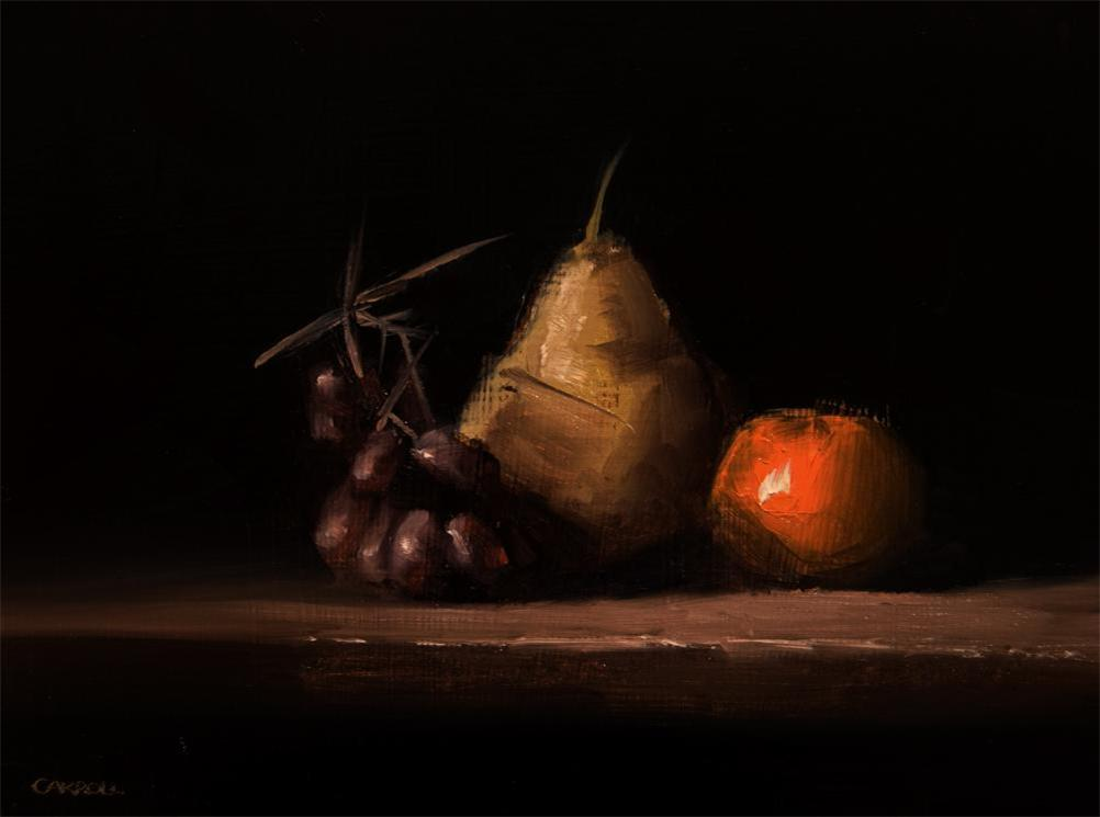 """Pear, Clementine and Grapes"" original fine art by Neil Carroll"