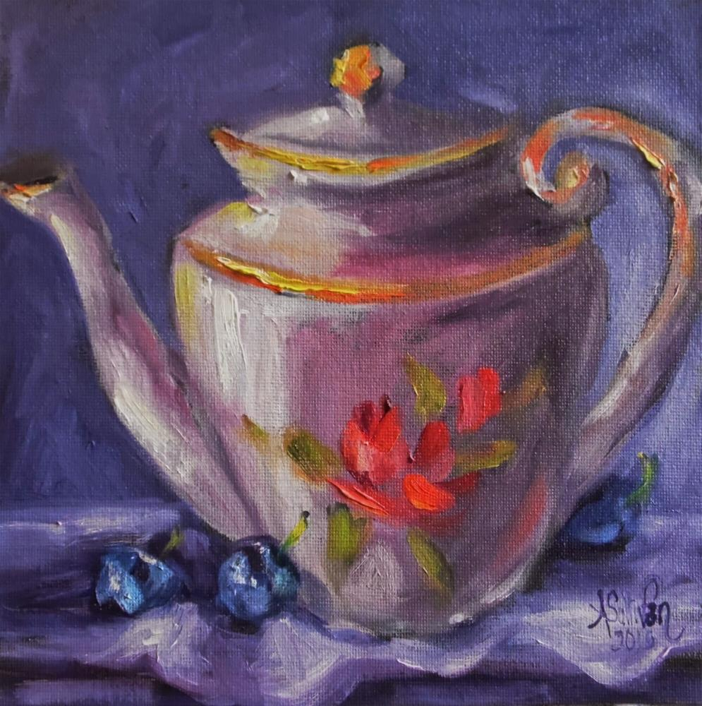 """Berry Good Tea stil life painting by Alabmam Artist Angela Sullivan"" original fine art by Angela Sullivan"