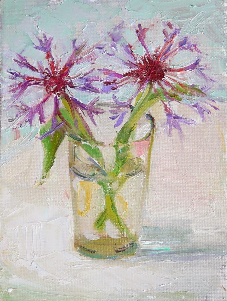"""""""Bachelor Buttons,still life,oil on canvas,7x5,price$125"""" original fine art by Joy Olney"""
