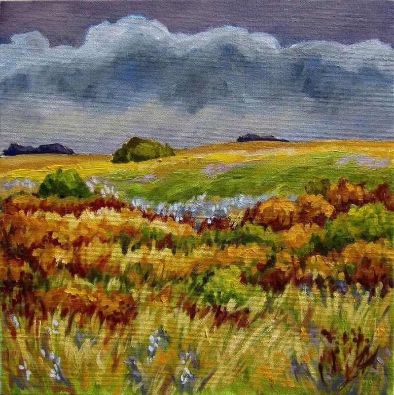 """Grassland Drama"" original fine art by Nicki Ault"
