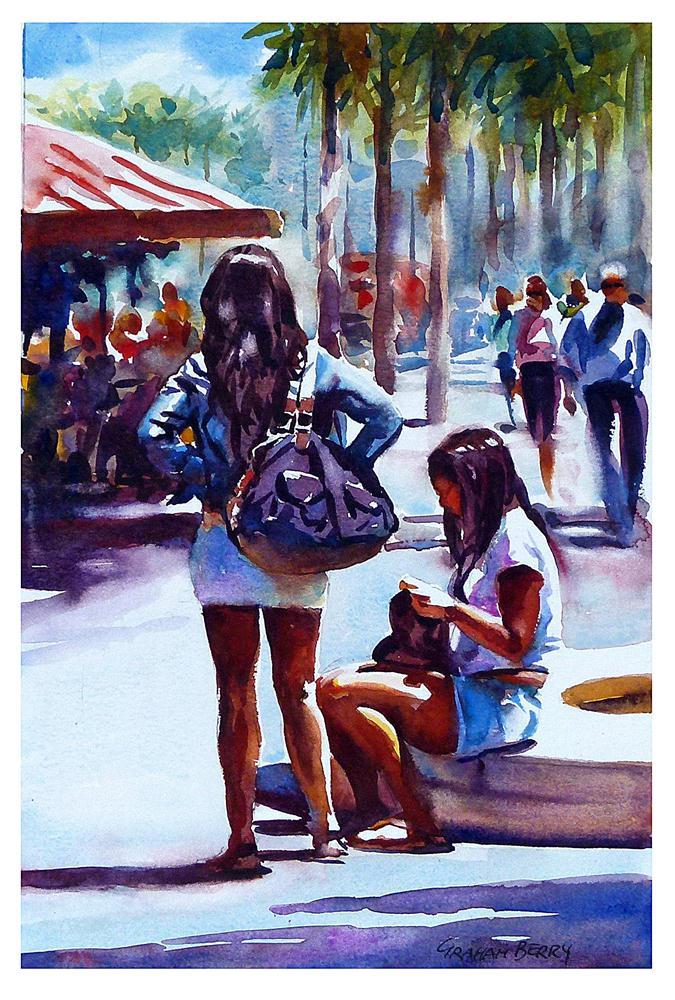 """Girls take a break."" original fine art by Graham Berry"