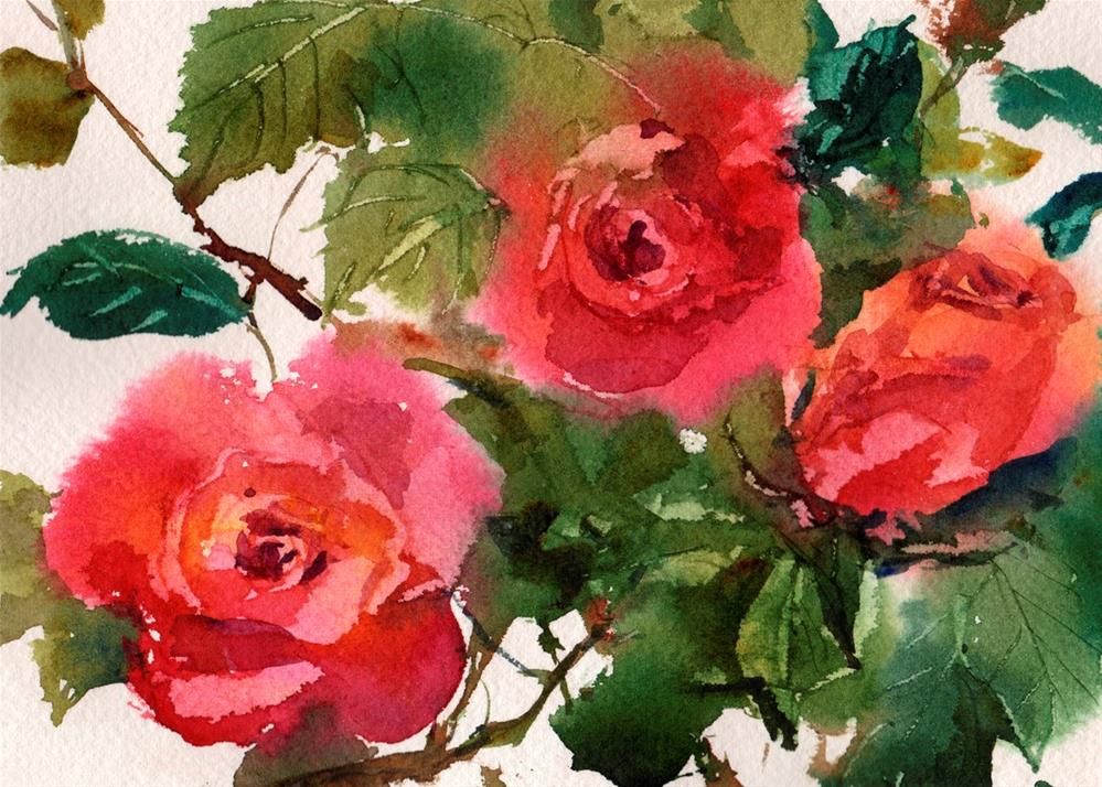 """My Love is Like a Red Red Rose"" original fine art by Linda Henry"