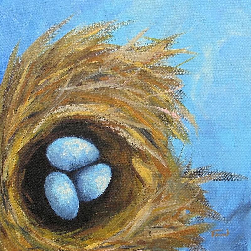 """Robin's Three Eggs VII"" original fine art by Torrie Smiley"