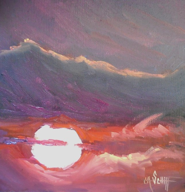 """Red Sky, Small Impressionist Oil Painting, Daily Painting, 8x8x1.5 Oil"" original fine art by Carol Schiff"