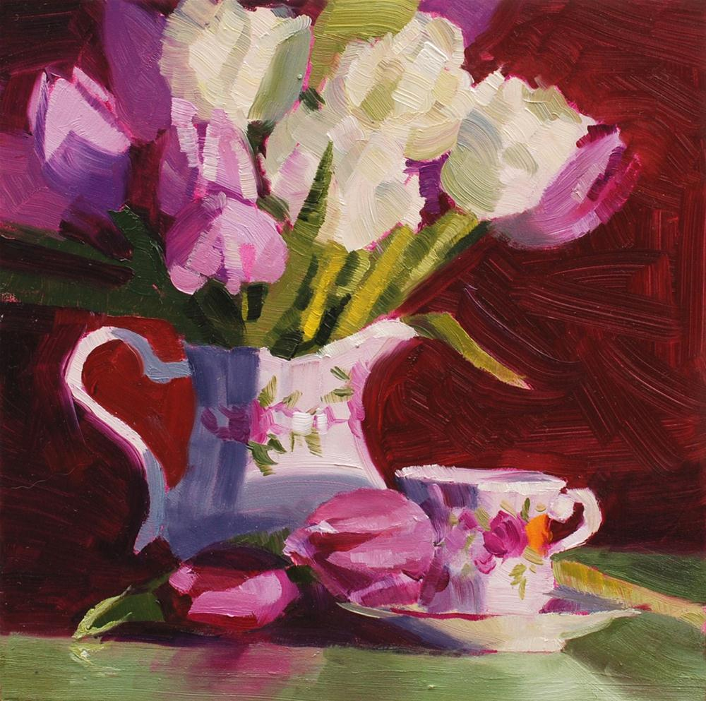 """Purple Tulips in Creamer"" original fine art by Susan McManamen"