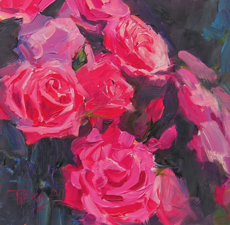 """Red Red Rose  rose series #2, oil painting by Robin Weiss"" original fine art by Robin Weiss"
