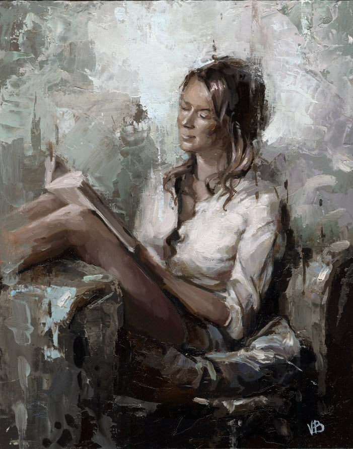 """Reading a Book"" original fine art by Victor Bauer"