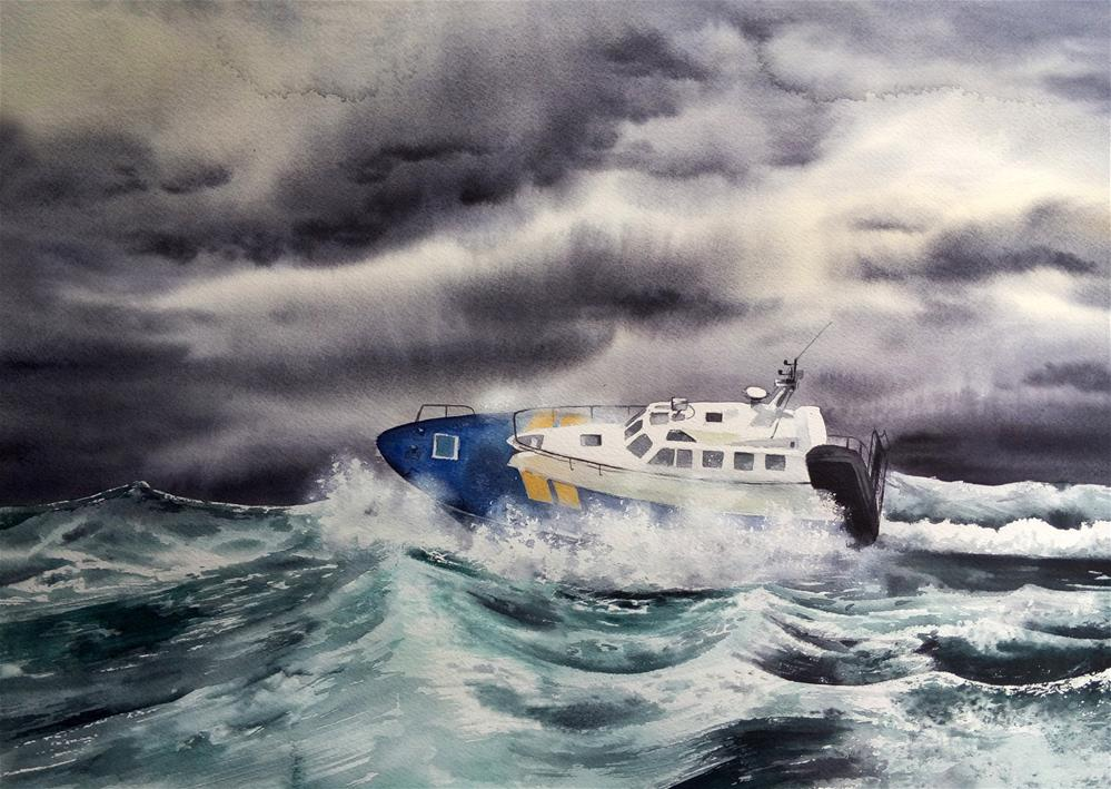 """Boat in stormy sea. Master, the tempest is raging! "" original fine art by Olga Beliaeva"