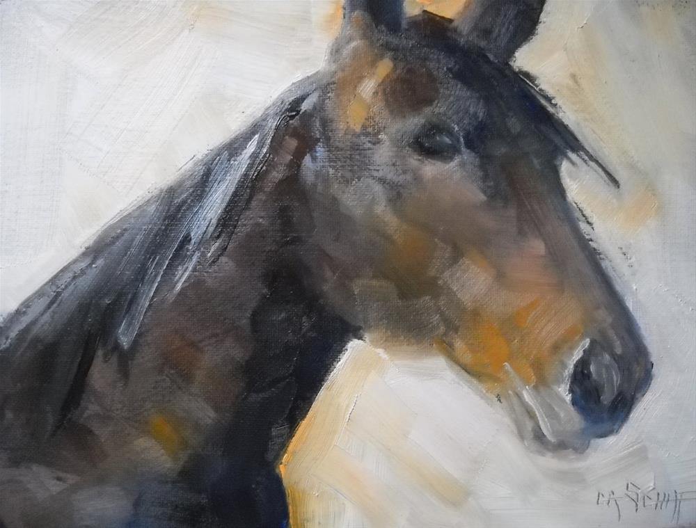 """Horse Portrait, The Mare 6x8 Daily Painting"" original fine art by Carol Schiff"