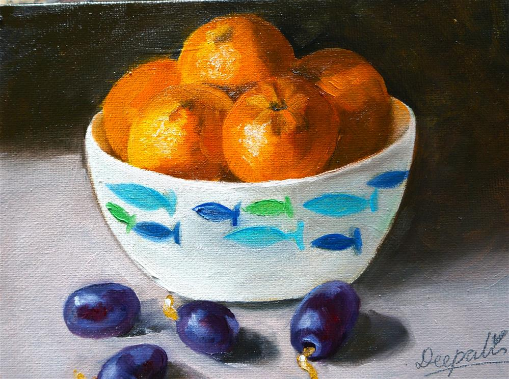 """Oranges in bowl"" original fine art by Dipali Rabadiya"