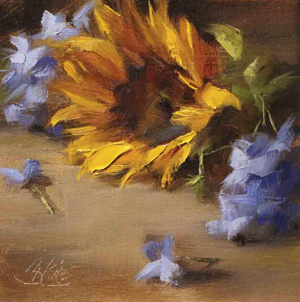 """""""Sunflower and Blue Plumbago"""" original fine art by Pamela Blaies"""