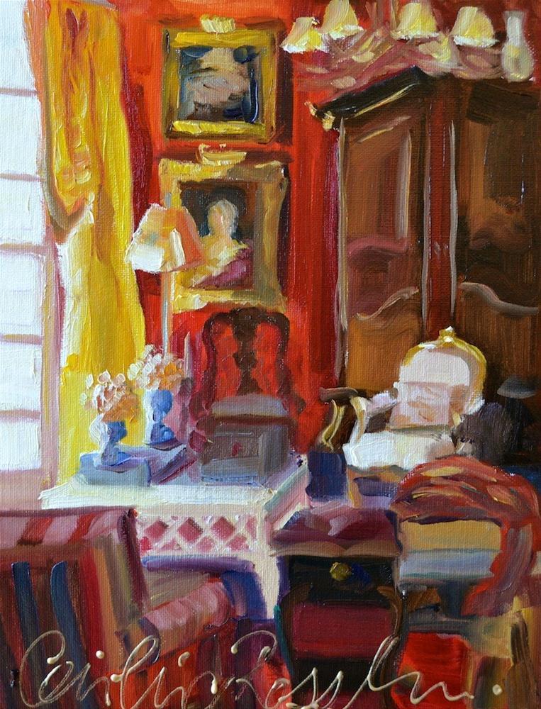 """SALON ROUGE"" original fine art by Cecilia Rosslee"