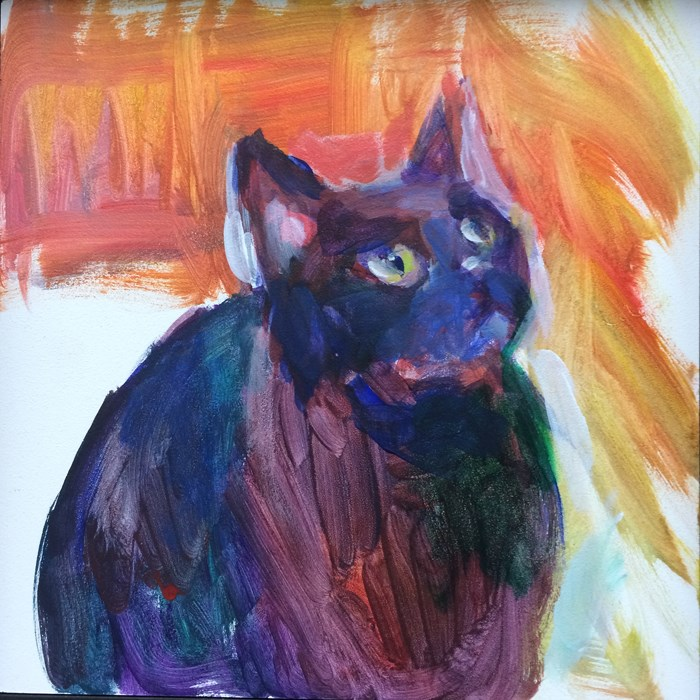 """Purple Cat"" original fine art by Sharon Savitz"