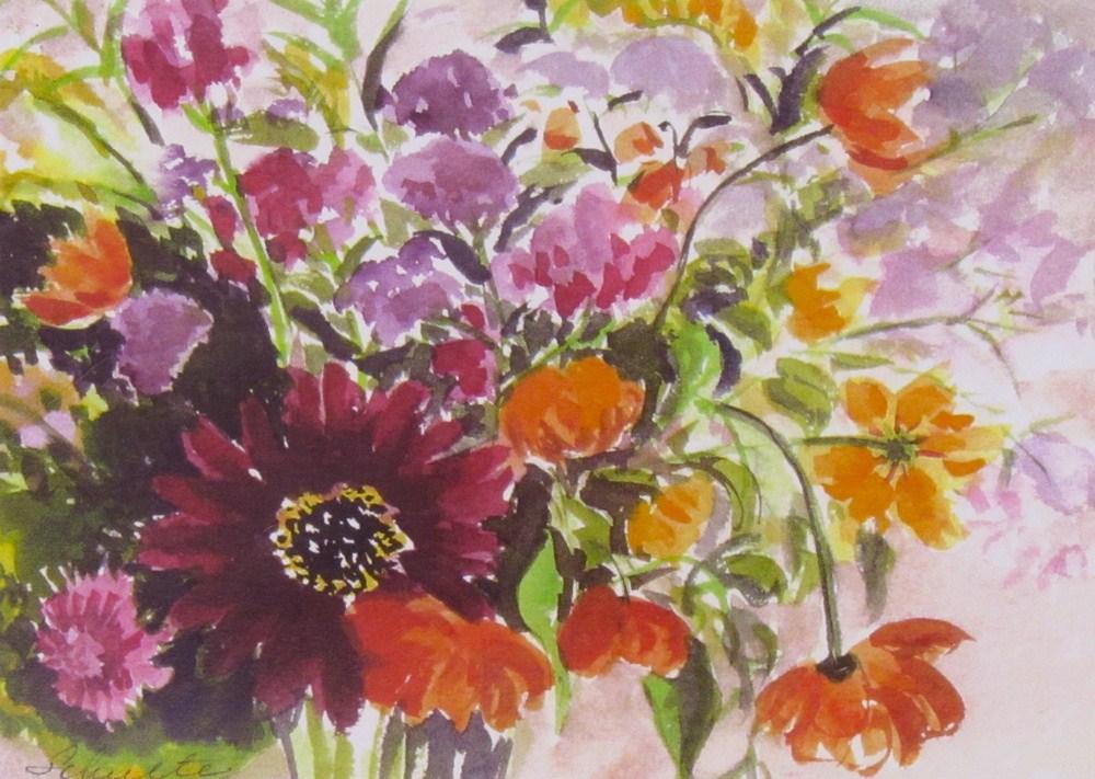 """First Red Sunflower Bouquet"" original fine art by Lynne Schulte"