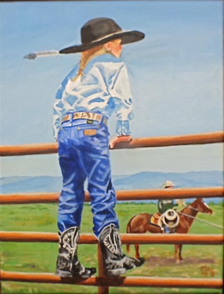 """'Lil Cowgirl"" original fine art by John F McGowan"