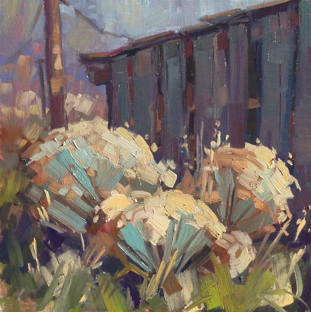 """Tool Shed and Sage Brush"" original fine art by Mary Jabens"
