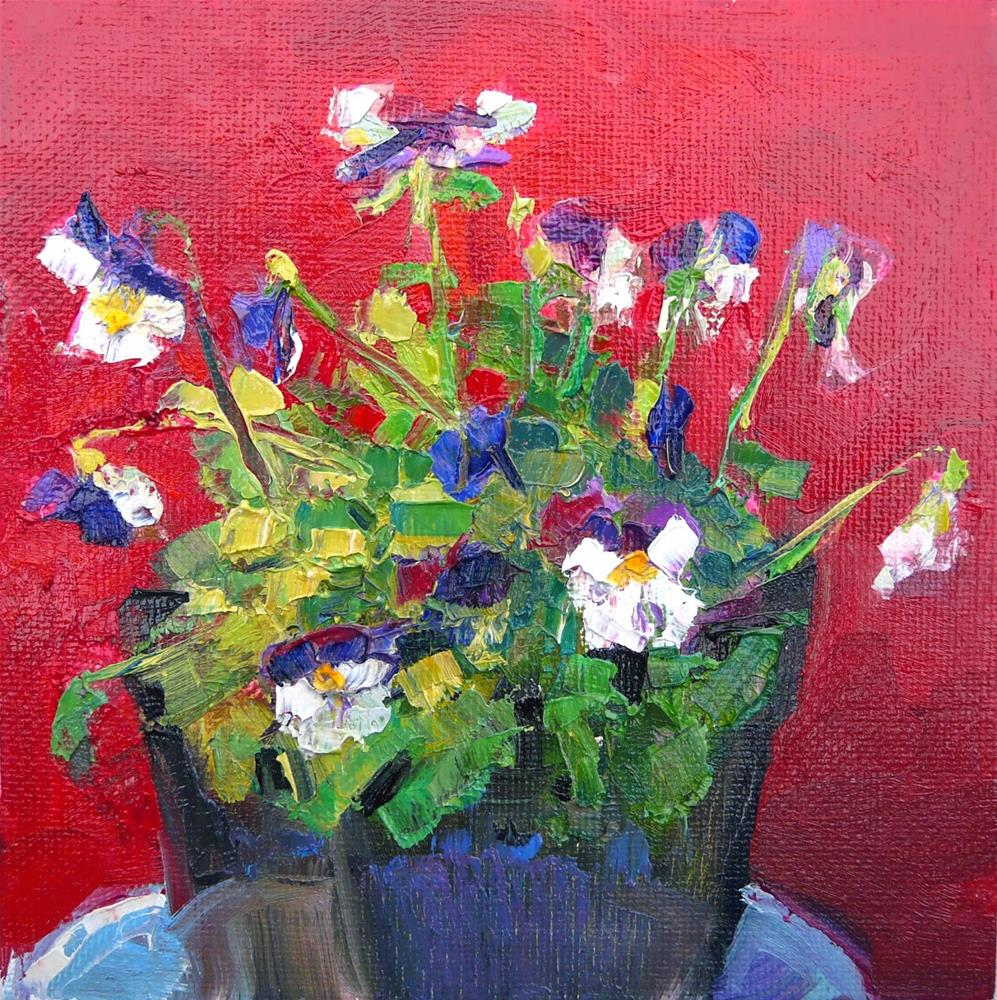 """Violas in Flower Pot.still life, oil on canvas,6x6,price$200"" original fine art by Joy Olney"