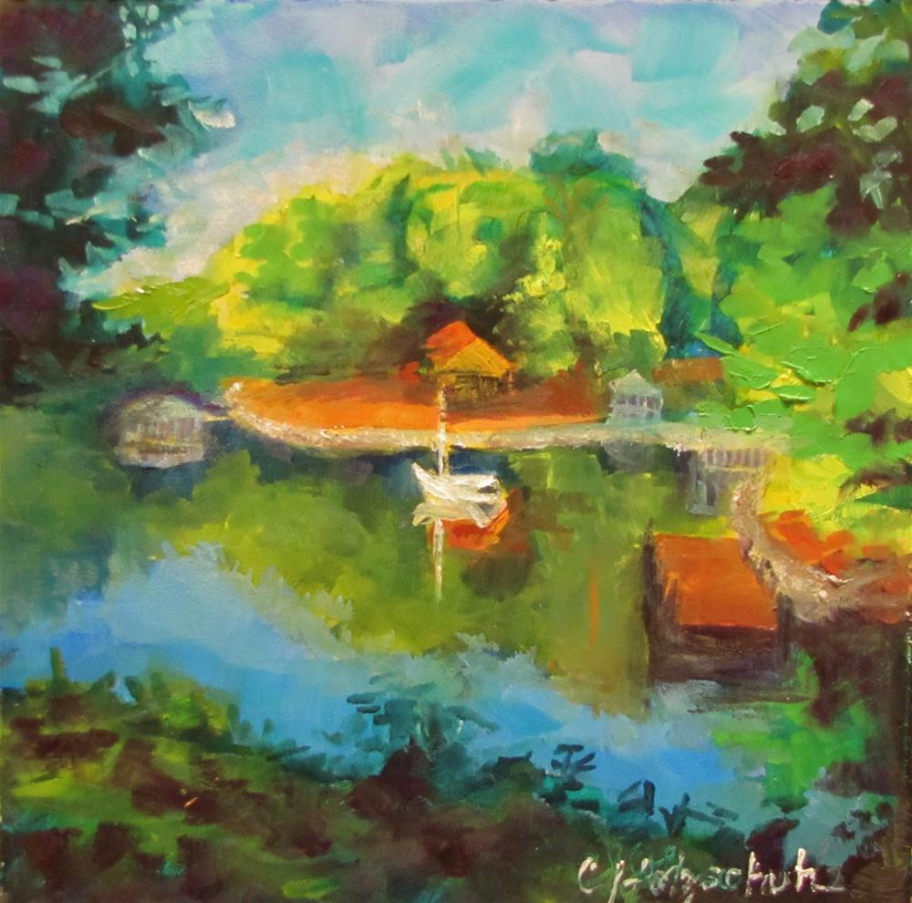 """View from the Lake House oil 6x6"" original fine art by Christine Holzschuh"