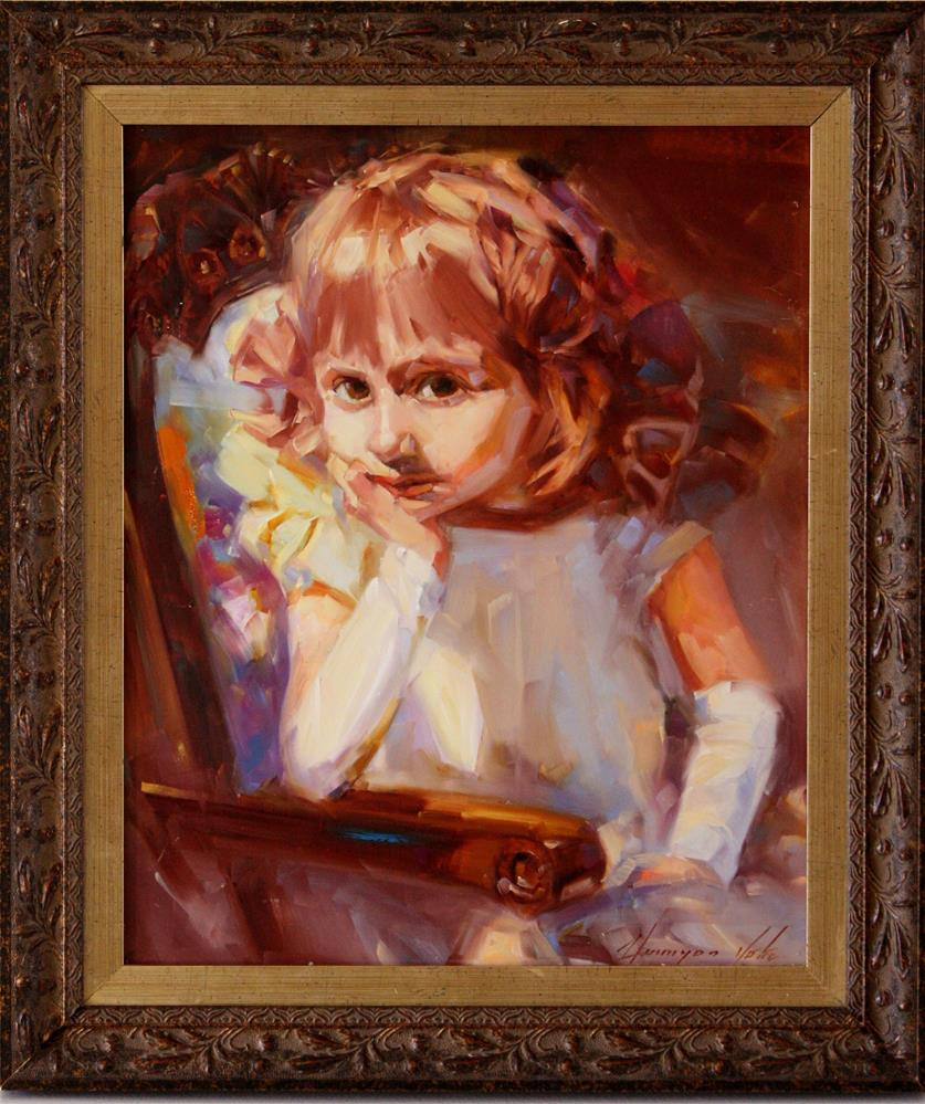 """PORTRAIT OF A GIRL ORIGINAL OIL PAINTING HANDMADE ART ONE OF A KIND"" original fine art by V Yeremyan"