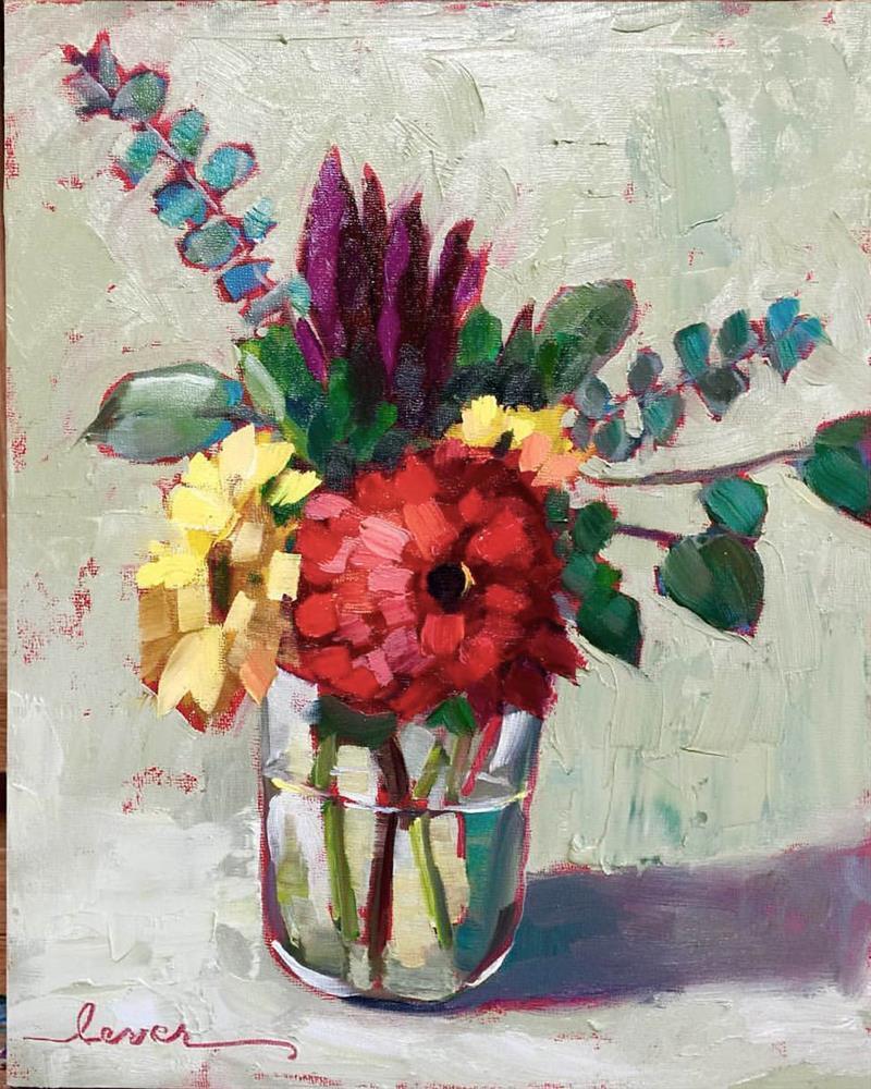 """Simply Red"" original fine art by Martha Lever"