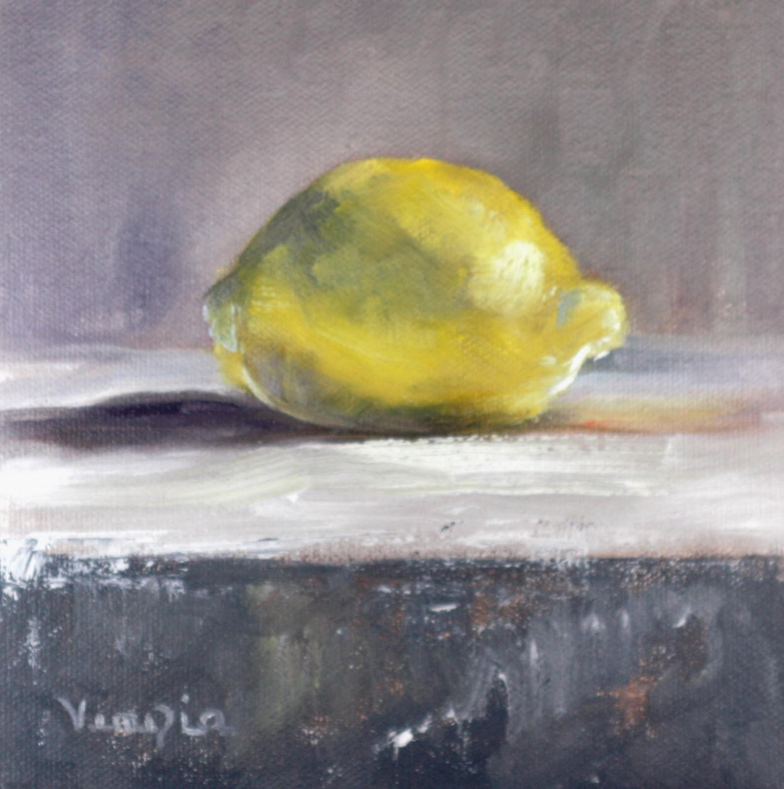 """Oil Painting Still Life with Lemon"" original fine art by Carrie Venezia"