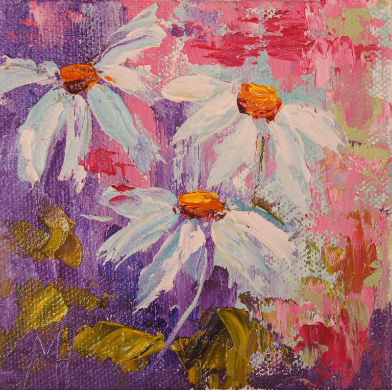 """Daisy Trio oil painting"" original fine art by Marion Hedger"