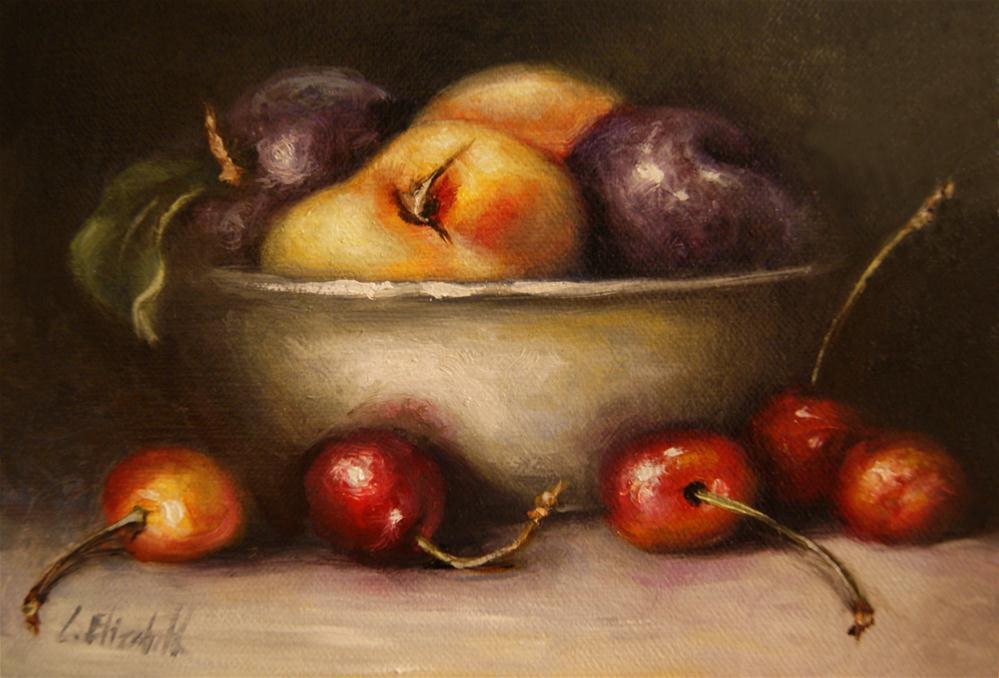 """Still Life with Fruits in Bowl,  Oil on 5x7 Linen Panel"" original fine art by Carolina Elizabeth"