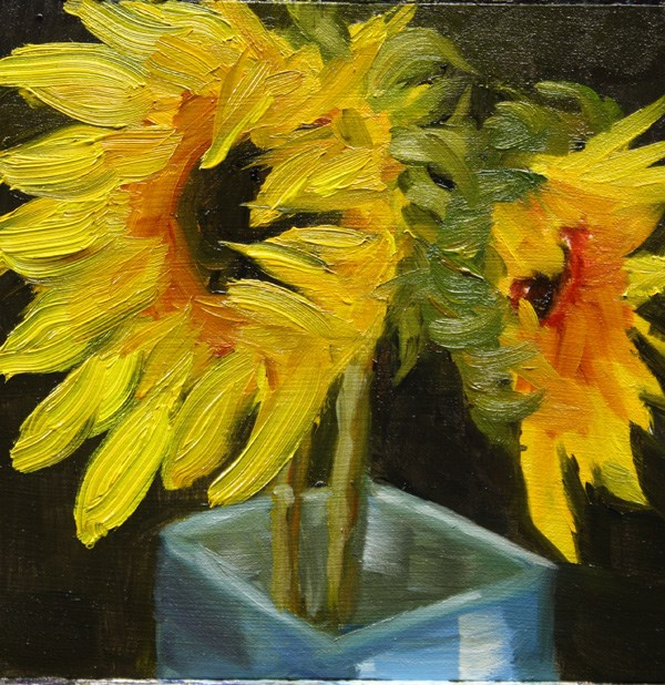 """Tired Sunflowers"" original fine art by Jane Frederick"