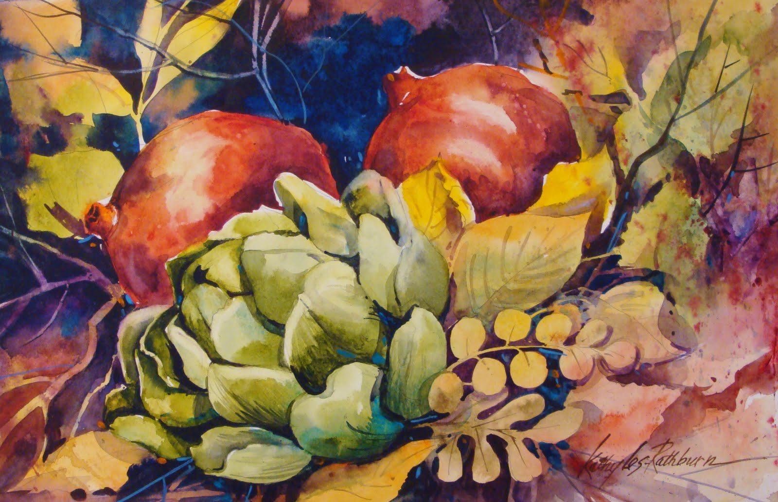 """Fall Still Life II"" original fine art by Kathy Los-Rathburn"