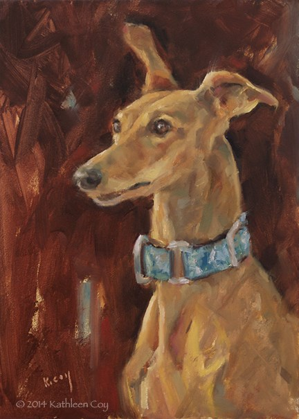 """Day 14 - Saluki/Whippet mix"" original fine art by Kathleen Coy"