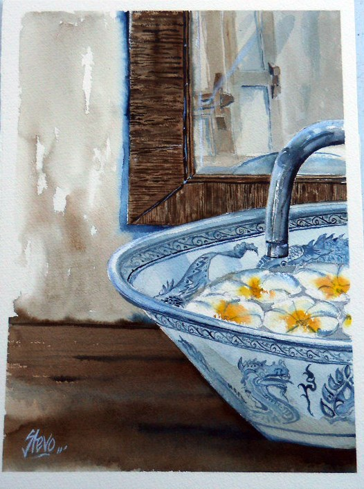 """""""White Flowers floating in a Blue Bowl"""" original fine art by Martin Stephenson"""